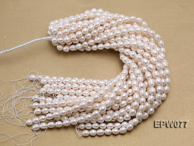 Wholesale 7x8mm A grade White Rice-shaped Freshwater Pearl String EPW077 Image 4
