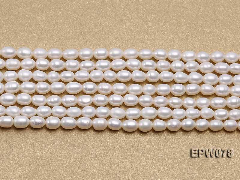 Wholesale 4.5x5.5mm Classic White Rice-shaped Freshwater Pearl String big Image 1