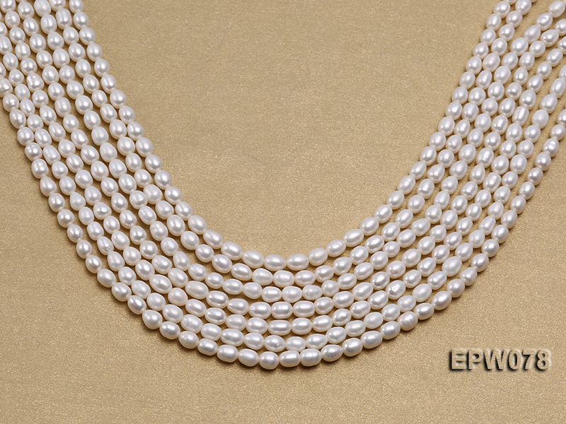 Wholesale 4.5x5.5mm Classic White Rice-shaped Freshwater Pearl String big Image 2