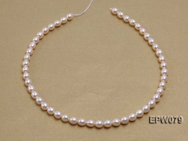 Wholesale 6.5X8mm White Rice-shaped Freshwater Pearl String big Image 2
