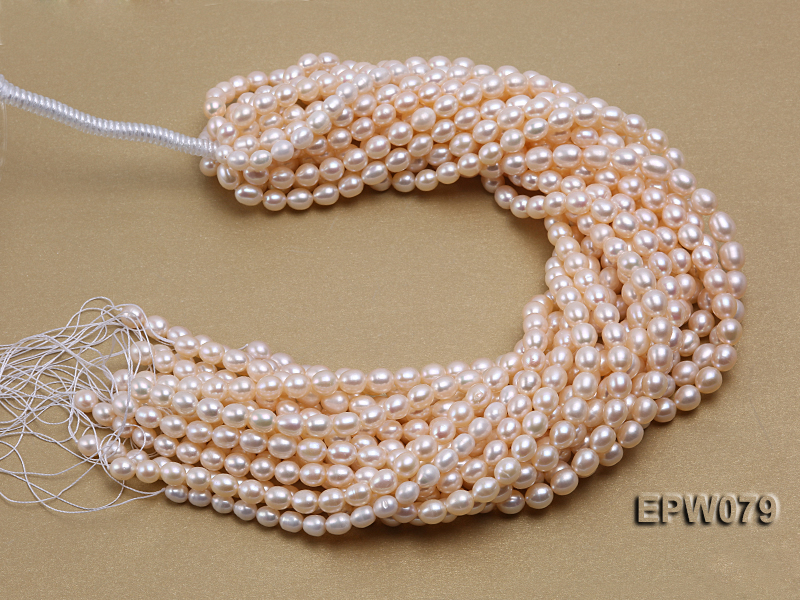 Wholesale 6.5X8mm White Rice-shaped Freshwater Pearl String big Image 3