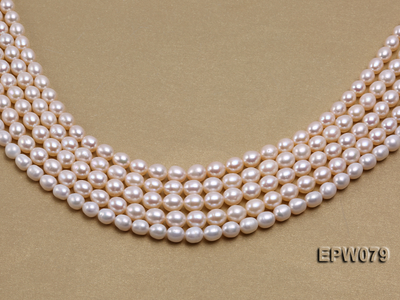 Wholesale 6.5X8mm White Rice-shaped Freshwater Pearl String big Image 4