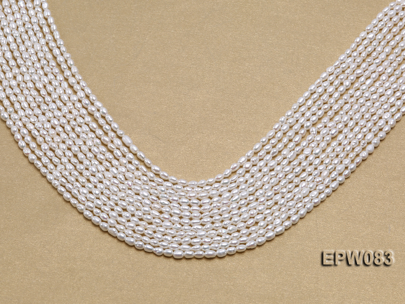 Wholesale 3x4.5mm white Rice-shaped Freshwater Pearl String big Image 1