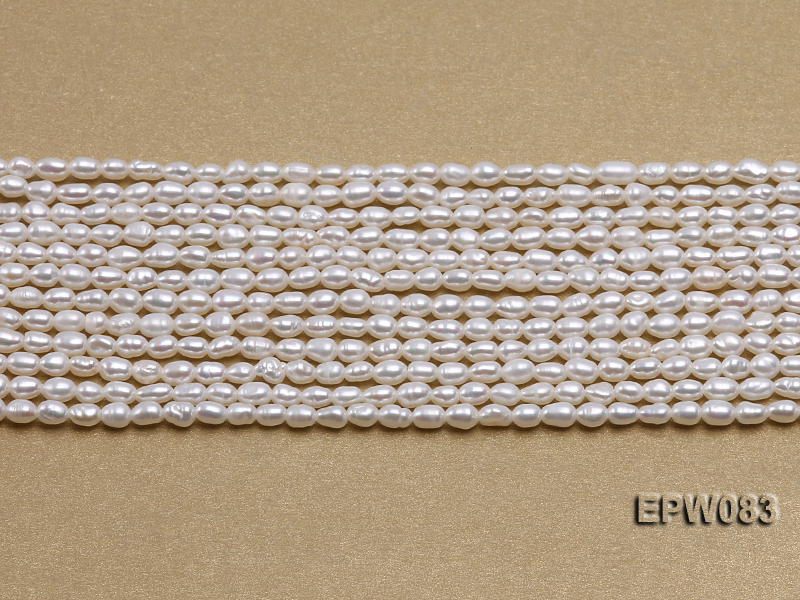 Wholesale 3x4.5mm white Rice-shaped Freshwater Pearl String big Image 2