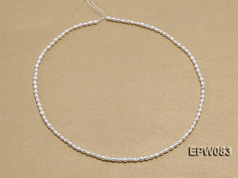 Wholesale 3x4.5mm white Rice-shaped Freshwater Pearl String big Image 3