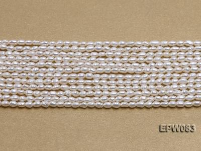 Wholesale 3x4.5mm white Rice-shaped Freshwater Pearl String EPW083 Image 2