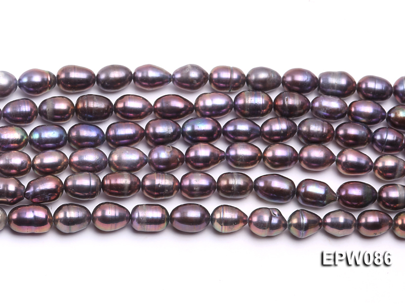 Wholesale 7.5X10.5mm Black Rice-shaped Freshwater Pearl String big Image 1