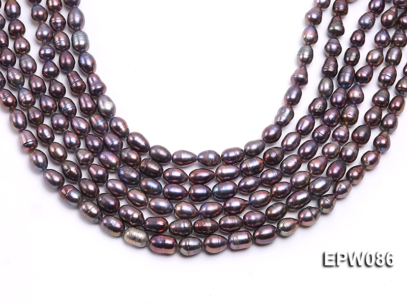 Wholesale 7.5X10.5mm Black Rice-shaped Freshwater Pearl String big Image 2
