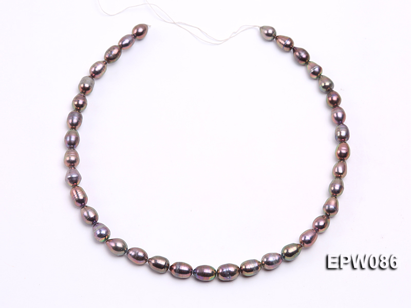 Wholesale 7.5X10.5mm Black Rice-shaped Freshwater Pearl String big Image 3