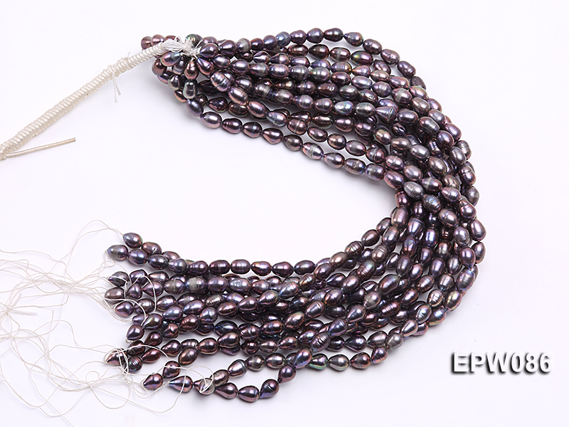 Wholesale 7.5X10.5mm Black Rice-shaped Freshwater Pearl String big Image 4