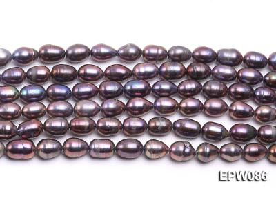 Wholesale 7.5X10.5mm Black Rice-shaped Freshwater Pearl String EPW086 Image 1