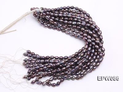 Wholesale 7.5X10.5mm Black Rice-shaped Freshwater Pearl String EPW086 Image 4