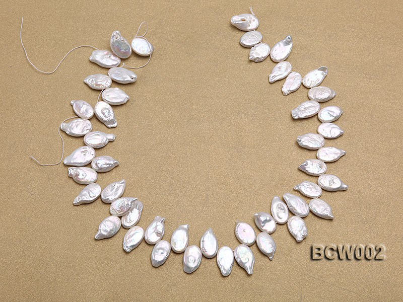 Wholesale 10x19mm Classic White Irregularly-shaped Pearl String big Image 3
