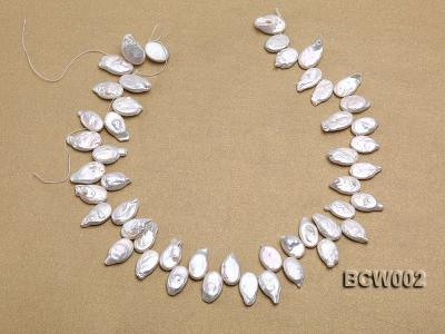 Wholesale 10x19mm Classic White Irregularly-shaped Pearl String BCW002 Image 3
