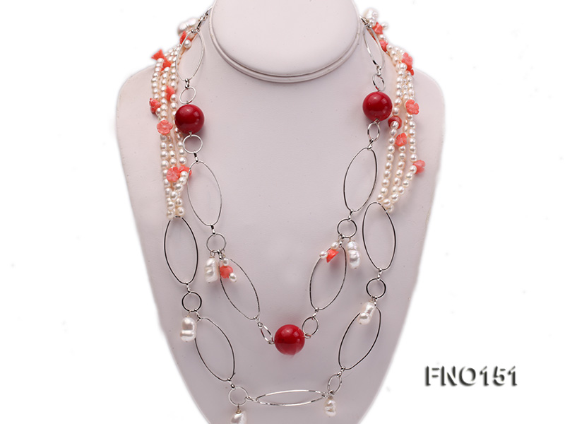 5x6mm white freshwater pearl  and coral necklace big Image 1