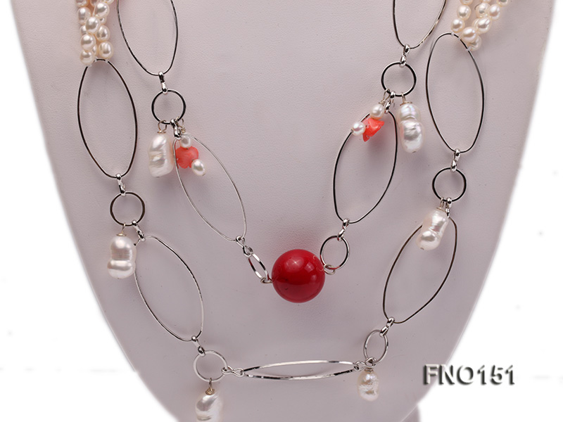 5x6mm white freshwater pearl  and coral necklace big Image 2