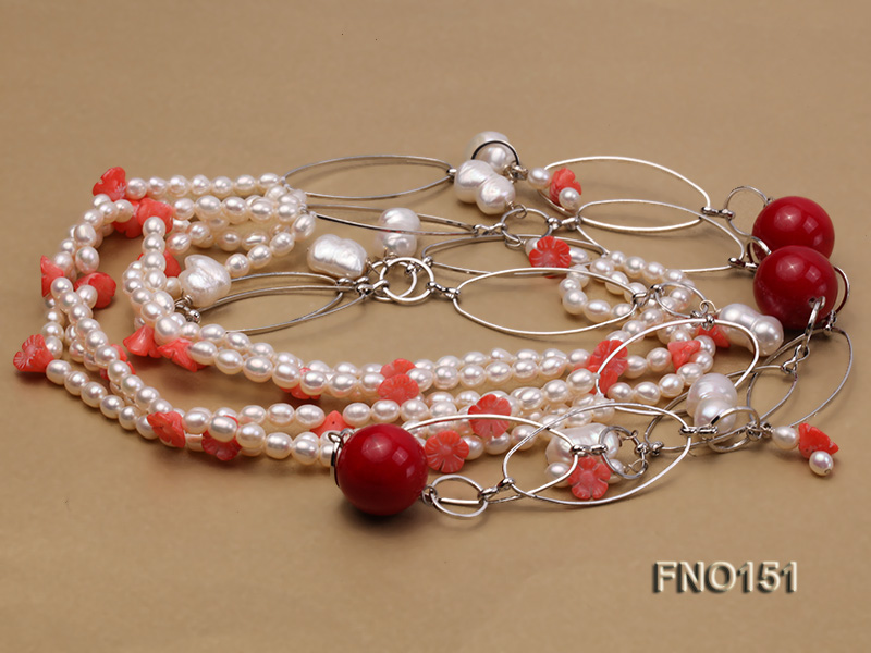 5x6mm white freshwater pearl  and coral necklace big Image 3