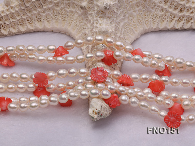 5x6mm white freshwater pearl  and coral necklace big Image 4
