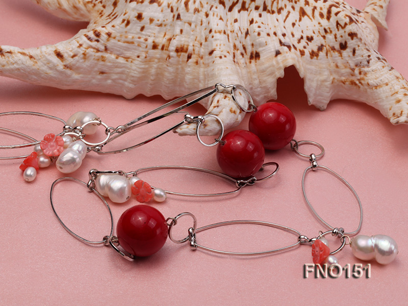 5x6mm white freshwater pearl  and coral necklace big Image 5