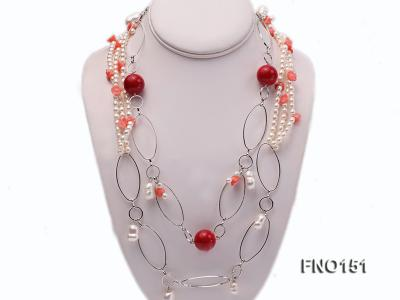 5x6mm white freshwater pearl  and coral necklace FNO151 Image 1