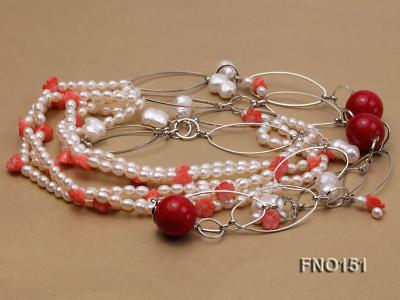 5x6mm white freshwater pearl  and coral necklace FNO151 Image 3