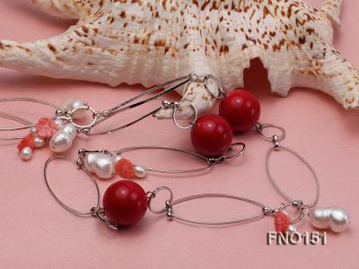 5x6mm white freshwater pearl  and coral necklace FNO151 Image 5
