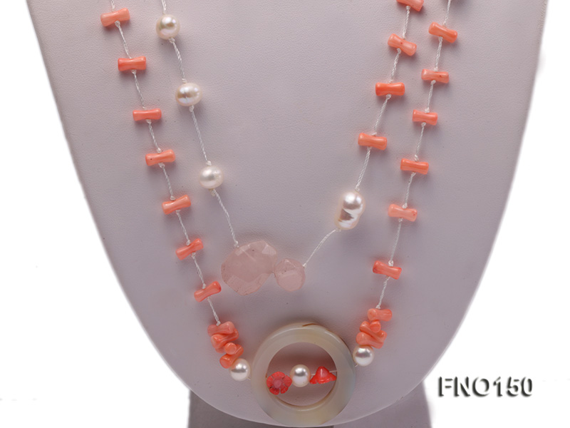 5x10mm pink irregular coral and white freshwater pearl necklace big Image 2