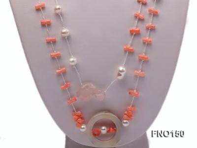 5x10mm pink irregular coral and white freshwater pearl necklace FNO150 Image 2