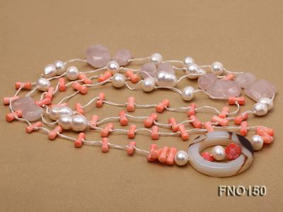 5x10mm pink irregular coral and white freshwater pearl necklace FNO150 Image 3