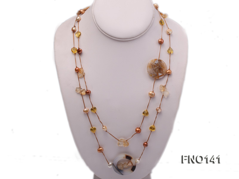 8-10mm multicolor flat pearl and yellow heart-shaped crystal and agate necklace big Image 1