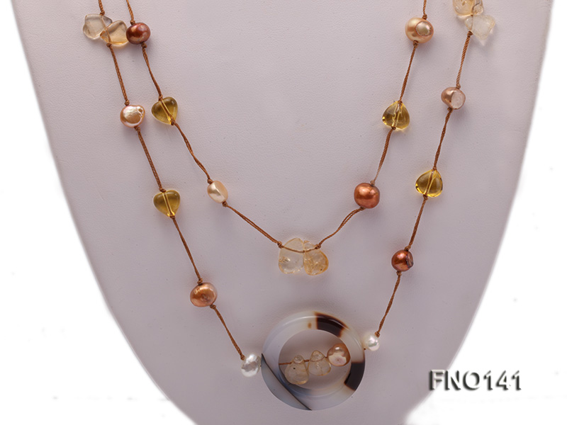 8-10mm multicolor flat pearl and yellow heart-shaped crystal and agate necklace big Image 2