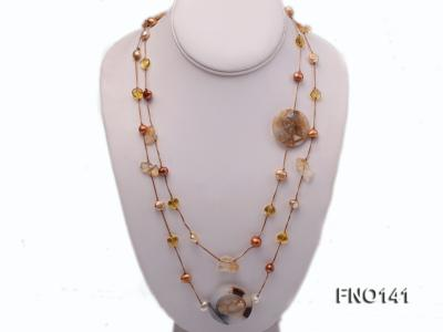 8-10mm multicolor flat pearl and yellow heart-shaped crystal and agate necklace FNO141 Image 1