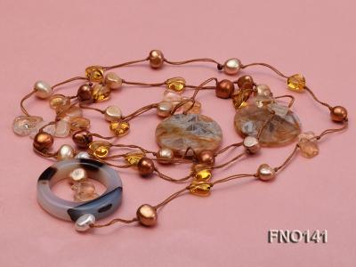 8-10mm multicolor flat pearl and yellow heart-shaped crystal and agate necklace FNO141 Image 3