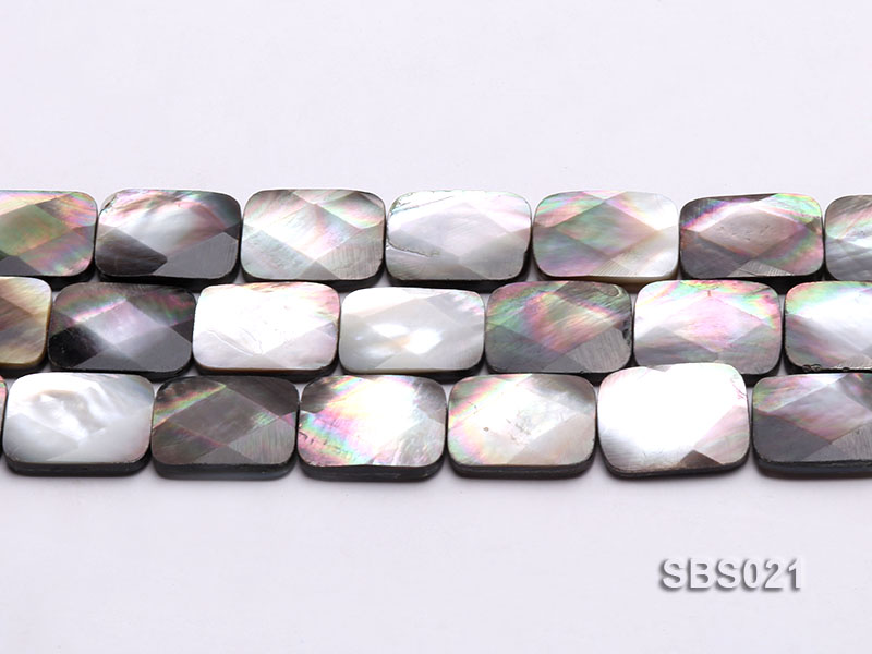 Wholesale 15X20mm Black Faceted Square Seashell String big Image 2