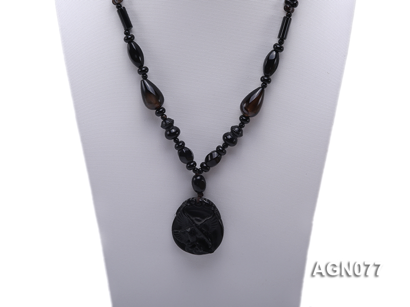 10mm black agate necklace with a big faceted pendant big Image 2