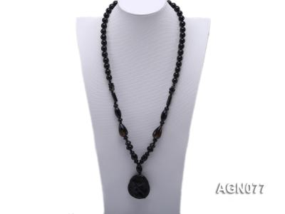 10mm black agate necklace with a big faceted pendant AGN077 Image 1
