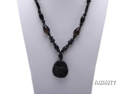 10mm black agate necklace with a big faceted pendant AGN077 Image 2