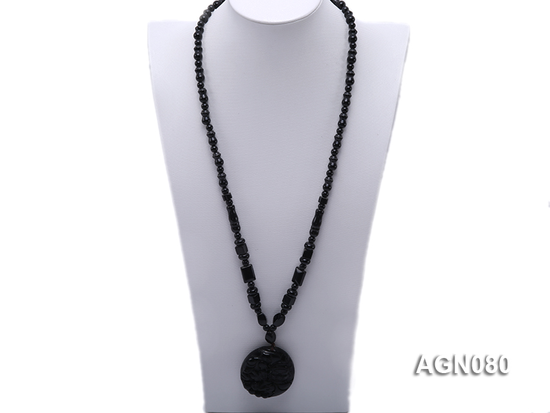 6x12mm black agate necklace with a big faceted agate pendant big Image 1