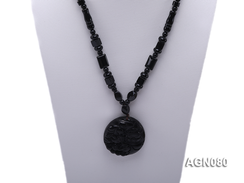 6x12mm black agate necklace with a big faceted agate pendant big Image 2