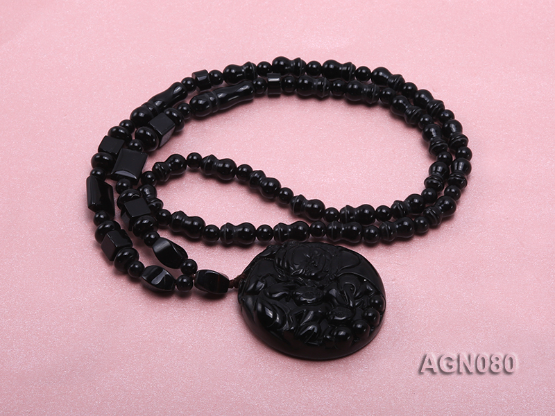 6x12mm black agate necklace with a big faceted agate pendant big Image 4
