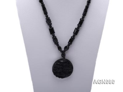 6x12mm black agate necklace with a big faceted agate pendant AGN080 Image 2