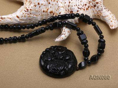6x12mm black agate necklace with a big faceted agate pendant AGN080 Image 5