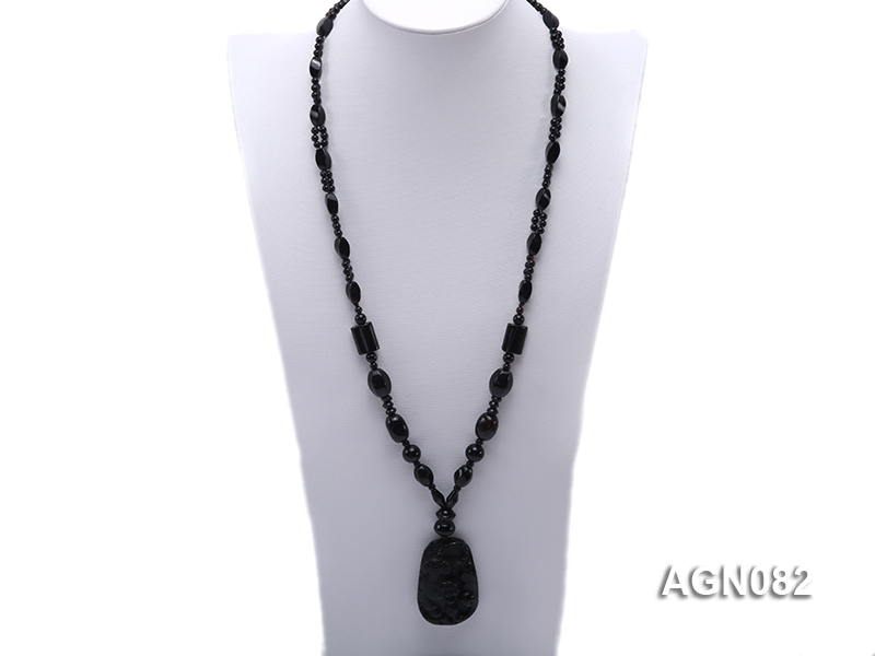 6x12mm black multi-shapes agate necklace with a big faceted agate pendant big Image 1