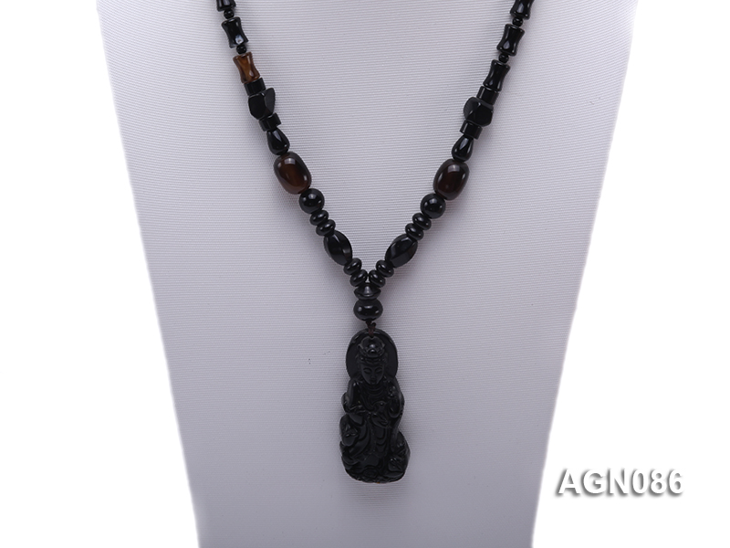 7.5x11mm black multishape agate necklace with a faceted pendant big Image 2