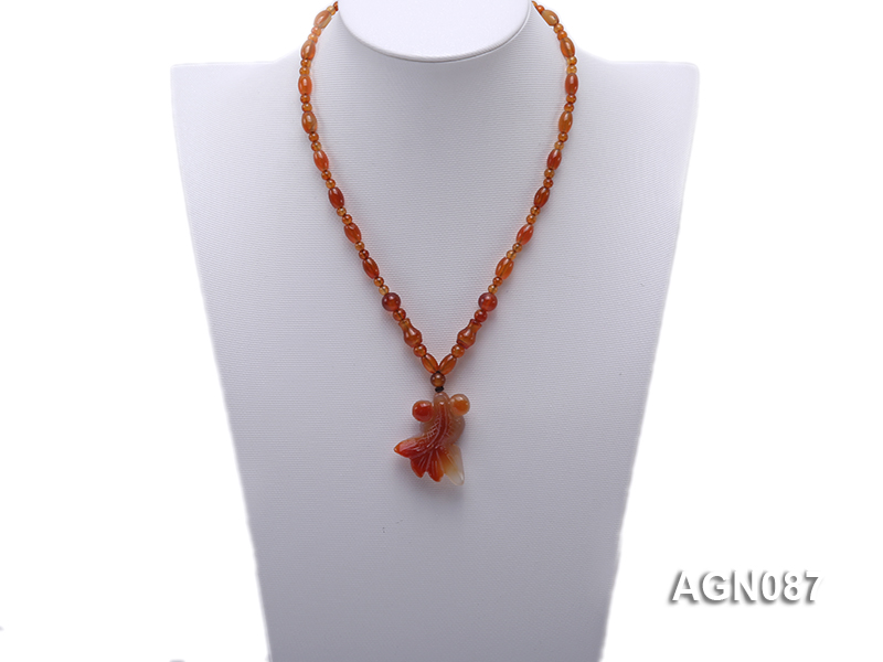 6x9mm orange round and drip-shaped agate necklace big Image 4