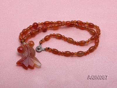 6x9mm orange round and drip-shaped agate necklace AGN087 Image 2