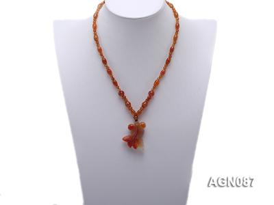 6x9mm orange round and drip-shaped agate necklace AGN087 Image 4