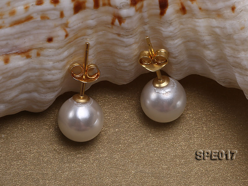 8mm white round the south seashell pearl earring with 18k GP pins big Image 2