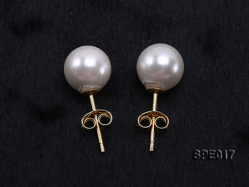 8mm white round the south seashell pearl earring with 18k GP pins big Image 3