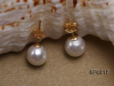 8mm white round the south seashell pearl earring with 18k GP pins SPE017 Image 2